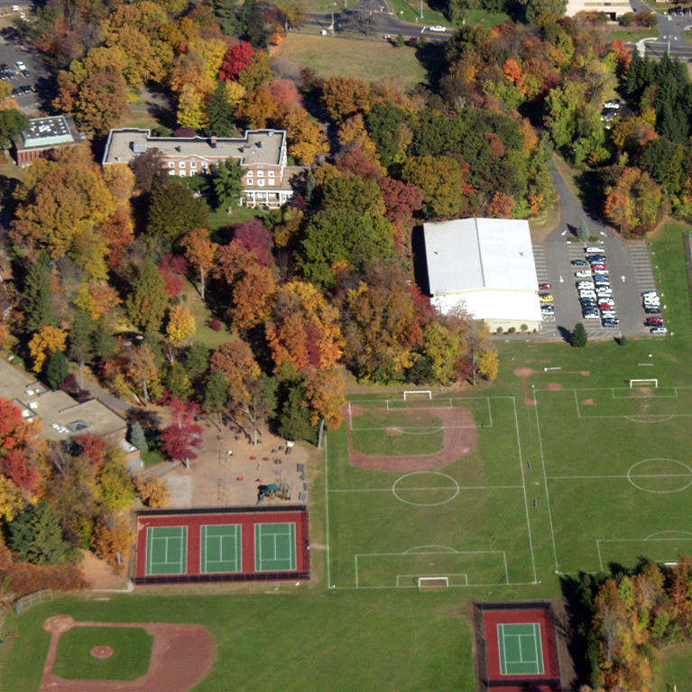 An aerial view of the Chase Collegiate baseball fields.