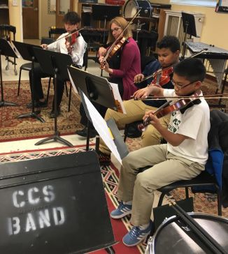 Chase Collegiate string ensemble students play music together..JPG